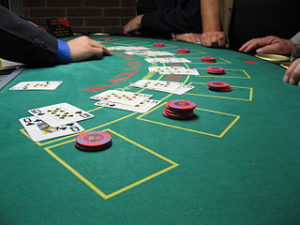 blackjack table with cards