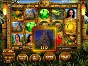 game play screenshot of aztec treasures slots