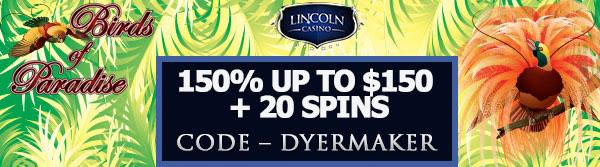150% up to $150 + 20 Spins at Lincoln Casino