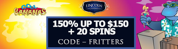 150% up to $150 + 20 Spins on Cool Bananas