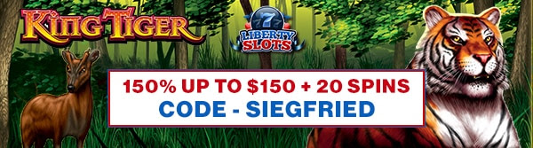 150% up to $150 + 20 Spins - King Tiger Slots