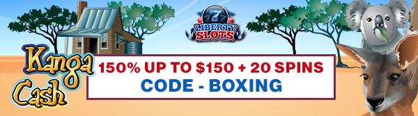 150% up to $150+ 20 Spins on Kanga Cash at Liberty Slots