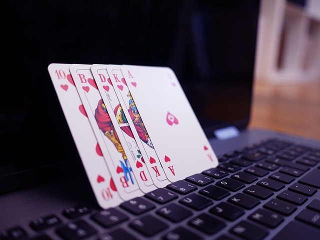 poker cards and keyboard