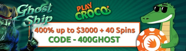 400% up to $3,000 + 40 Spins on Ghost Ship at Play Croco Casino