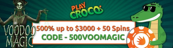 500% up to $3,000 + 20 Spins on Voodoo Magic Slot