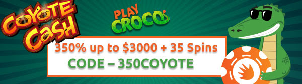350% up to $3000 + 35 Spins on Coyote Cash