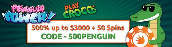 500% up to $3000 + 50 Spins on Penguin Power