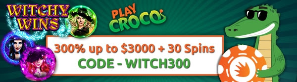 300% up to $3000 + 30 Spins on Witchy Wins at Play Croco
